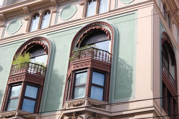 façade colorée dans les rues de Gênes